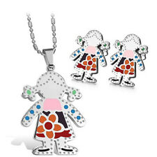 1Set Of Shiny Loverly Girl Stainless Steel Earring Stud&Pendant Necklace