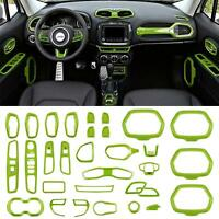 31PCS Opall ABS Interior Parts Decoration Door Sound Speaker Audio Ring Dashboard Air Vent Frame Outlet Steering Wheel Buttons Sequins Steering Wheel U-Shaped Door Cover for Jeep Renegade 2015-2018