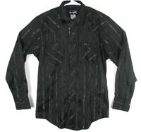 Wrangler Black Silver Long Sleeve Metallic Pearl Snap Western Shirt Mens Sz M
