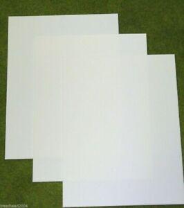 3 sheets of WHITE Plasticard 40/000 Terrain & Scenery