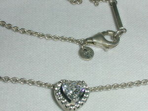PANDORA STERLING SILVER ELEVATED HEART PENDANT NECKLACE- 398425CO1