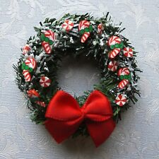 Dolls house miniatures: Christmas wreath decorated with candy canes