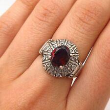 925 Sterling Silver Vintage Real Red Garnet Gem Tribal Design Ring Size 6