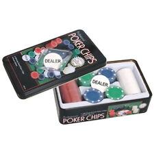 Set 100 Fiches Gioco Poker Confezione Chips Fishes in Latta Texano Texas Holdem