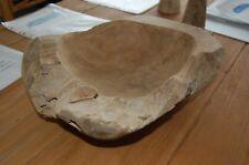 Réel Solide en Bois de Teck Bol D'une Racine ca.35-40cm Haute Qualité