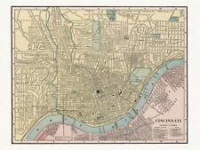 Old Vintage Decorative Map of Cincinnati Cram ca. 1901