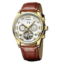 Kinyued Men's Automatic Watch Date Sports Wrist Watches With Leather Strap
