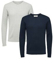 Selected Homme Mens Clayton Knit Regular Cotton Jumper Crew Neck Sweater