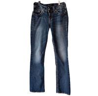 Silver Jeans Womens W25 L33 Suki Mid Slim Boot Fluid Denim Blue Thick Stitch