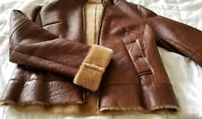 Genuine spanish shearling zip jacket, lightweight sheepskin moto biker cognac S