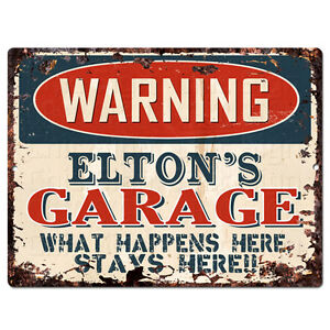 PPFG0544 WARNING ELTON'S GARAGE Tin Chic Sign Home man cave Decor Funny Gift