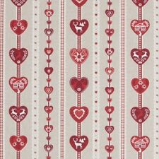 Cotton Rich Linen Look Fabric Scandinavian Heart Stripes Reindeer Upholstery