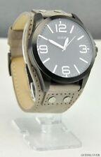 Relojes de pulsera baterías de cuero para hombre