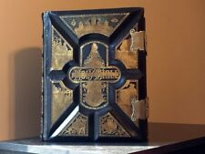 ANTIQUE HOLY FAMILY KING JAMES BIBLE CLASP 1885 STEEL & WOOD PLATES