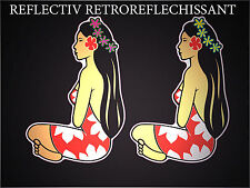 2x Autocollants stickers Hinano Tahiti Vahine REFLECHISSANTS