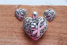Silver Pink Ribbon Heart Hope Breast Cancer Pendant Earrings