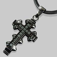 POLICE Leder Halskette Herren Kette Anhänger FAITH Schmuck Kreuz PJ24135PLU.01
