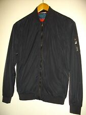 * ZARA * MENS NAVY BLUE LIGHTWEIGHT LINED ZIP UP BOMBER JACKET SIZE S - EUR 38
