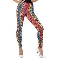 Ac402 1980s 1990s Neon Leopard Print Leggings Disco Costume Pants Madonna Lauper