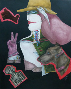 Collage, mixed media, signed Richard Lindner, dated 1968