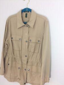 Ralph Lauren 2X Women's Tan Cargo Jacket Cotton Khaki New