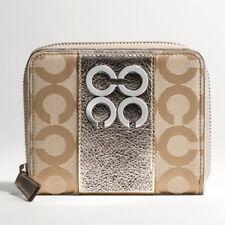 NWT COACH Julia Op Art Medium Zip Around Wallet 43948 - Khaki/Gold - Rare Item!