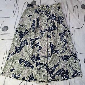 Vintage Grey Navy Blue Floral A-Line Pleated Alexon Midi Skirt Size 16
