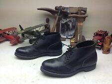 VINTAGE STEEL TOE BLACK LEATHER ENGINEER LACE UP BOSS ANKLE WORK BOOTS 10 D