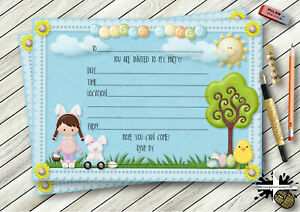PERSONALISED BOYS & GIRLS EASTER PARTY, EGG HUNT INVITATIONS OR THANK YOU CARDS