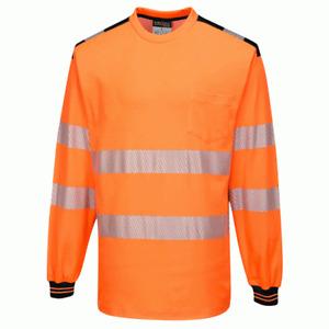 Portwest T185 PW3 Hi-Vis Long Sleeve Work T-Shirt - Orange/Black