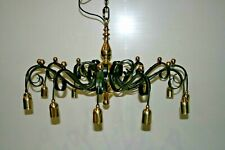 Large Handmade Twelve Light Polished Brass & Painted Black Steel Pendant