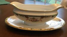 NORITAKE CLINTONIA FLORAL SPRAYS 1920'S DISCONT GRAVY BOAT ATTACHED UNDERPLATE