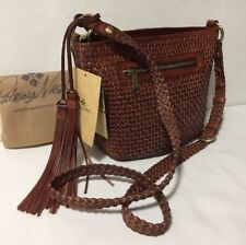 NWT Patricia Nash BANYOLES Small Woven Rust Leather Bucket Crossbody Bag Purse