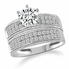 Wedding Band Bridal Set Engagement Jewelry New 2.15 Ct 14K Solid Gold Ring