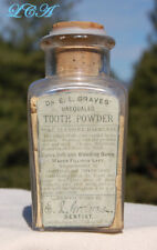 Antique Dr. E. L. GRAVES' unequaled TOOTH POWDER bottle CURES embossed w/  LABEL
