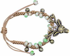 cute bronze coloured deer bracelet, adjustable, white and green colured beads