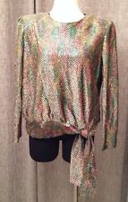 ANOTHER THYME Vtg 70's Sequined Sparkle Disco Night Club Cocktail Party Blouse L