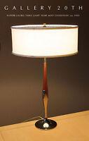 LAUREL MID CENTURY MODERN TABLE LAMP! Eames 50s Vtg Tulip Brass Wood Atomic Era