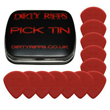 12 X Dunlop Max Grip Jazz Iii Rojo Guitar Picks / plectrums en un práctico Pick Tin