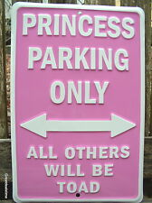 """GIRL CAVE SIGN"" PRINCESS PARKING ONLY PINK METAL HOME DECOR BEDROOM SIGNS NEW"