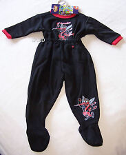 Essendon Bombers AFL Boys Black Printed 2 Piece Fleece Pyjama Set Size 00 New