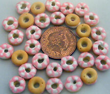1:12 Scale 7 Loose Pink & White Iced Doughnuts Dolls House Cake Bakery PL120