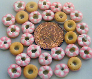 1:12 Scale 7 Loose Pink & White Iced Doughnuts Tumdee Dolls House Cake PL120