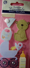 NEW 6 pc BABY BOY Hat Bib Bear Stroller Pram Bottle SANDYLION ESSENTIALS Sticker