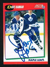 Dave Hannan #241 signed autograph 1991-92 Score Hockey Canadian Release Card