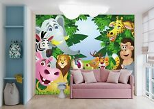 3D Self-adhesive Cartoon Animals in the Jungle Kids Bedroom Wall Mural Wallpaper
