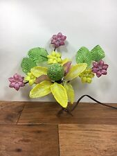 Vtg Murano Handmade Glass Wired Flowers Leaves Bouquet 1930s Light Not working