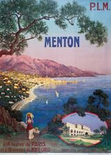 MENTON, FRANCE, NEAR MONTE-CARLO WITH P.L.M French Travel Poster. 250gsm Print