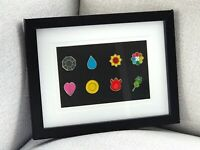 Framed Complete 8 Gold Kanto Gym Leader Badges Lapel Pins | Pokemon Series 1