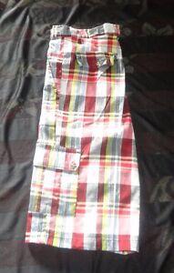 5th Ave Plaids  Men's Plaids & Checks Muliticolor Cargo Shorts SZ 36